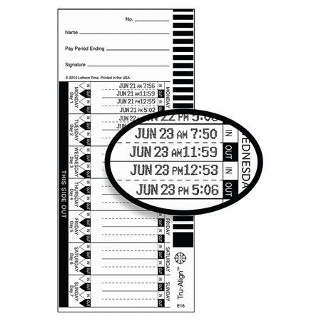 Cartes de temps Tru-Align E16