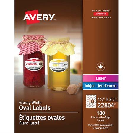 Étiquettes ovales glacées imprimables