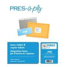 Étiquettes pour imprimante laser