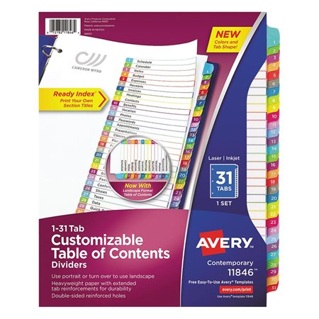 Ready Index® Customizable Table of Contents Dividers