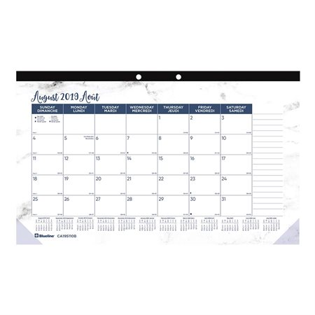 Calendrier sous-main mensuel académique (2019 / 2020)