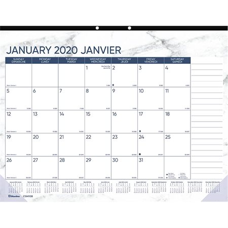 Marble Monthly Desk Pad Calendar (2020)