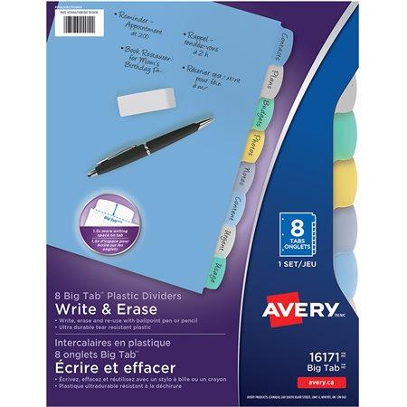 Intercalaires en plastique écrire et effacer Big Tab™